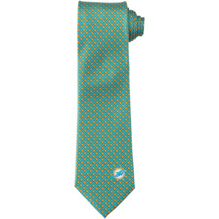 Miami Dolphins Diamante Print Silk Tie - No Size