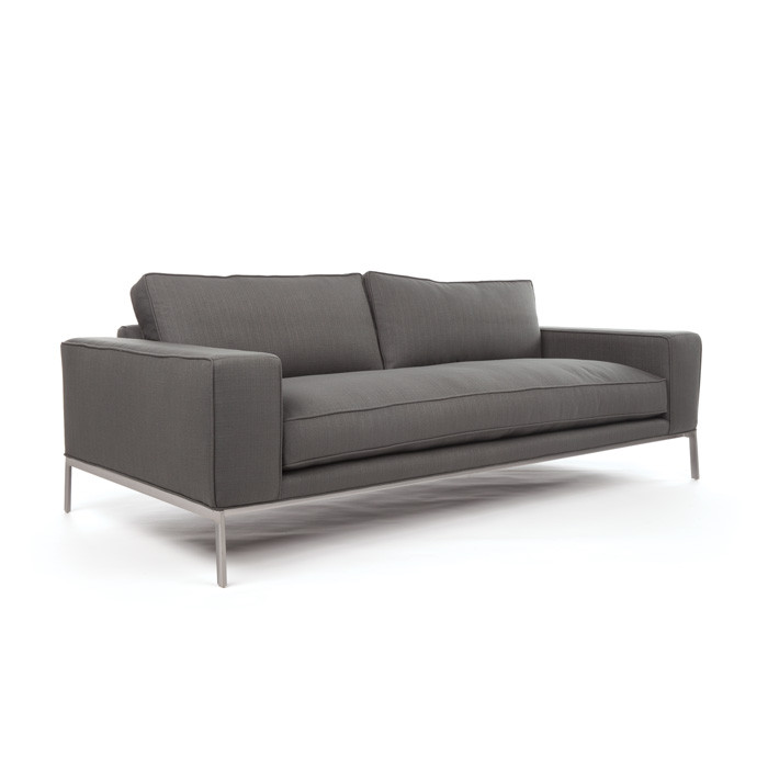 "Eclipse Home Collection Donovan Sofa Medium Klein Laguna Nickel Nailheads 88"" L  x 40"" W  x 30"" H"
