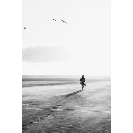 LAMINATED POSTER People Beach Black And White Walking Girl Alone Poster Print 24 x
