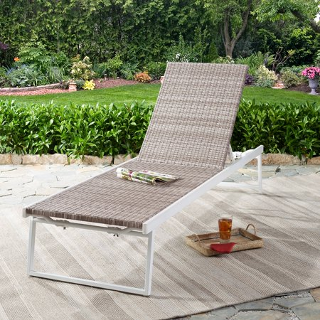 Better Homes & Gardens Sunnyside Outdoor Wicker Chaise Lounge in Gray