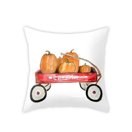 Watercolor Pumpkin Throw Pillow Covers Halloween Thanksgiving Day Cotton Linen Car Sofa Pillowcase Home Decor - Tf Halloween