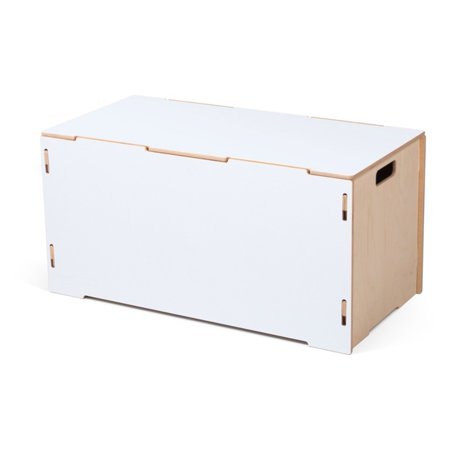 Sprout Large White Wooden Storage Tote Box With Lids