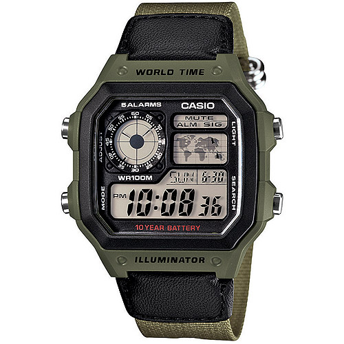 Casio Men's World Time Multi-Function Watch, Green Cloth Strap