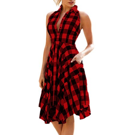 OUMY Women Sleeveless Asymmertrical Hem Plaid Dress (Medieval Dresses For Women)