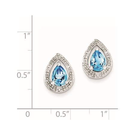 925 Sterling Silver Rhodium Plated Diamond Blue Topaz Post (10x13mm) Earrings - image 1 of 2