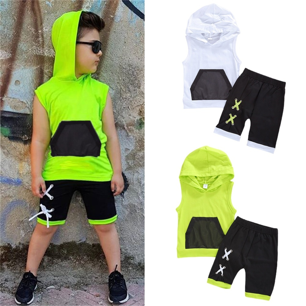 2pcs Toddler Kids Baby Boy Hooded Vest Tops+Shorts Pants Outfits Clothes Set