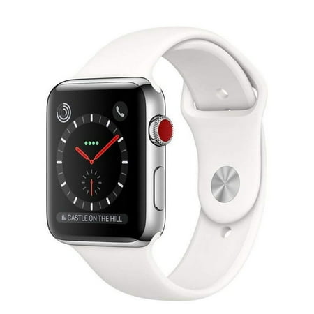 Refurbished Apple Watch 38mm Series 3 Steel Case GPS + Cellular with Sport Band MQJW2LL/A