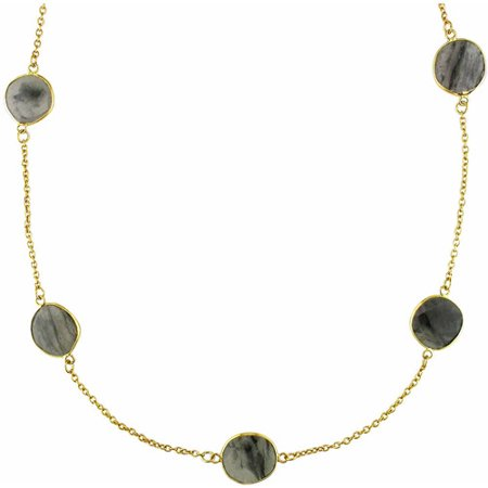 42 Carat T.G.W. Rutilated Quartz Yellow Rhodium-Plated Sterling Silver Yard Necklace, 36