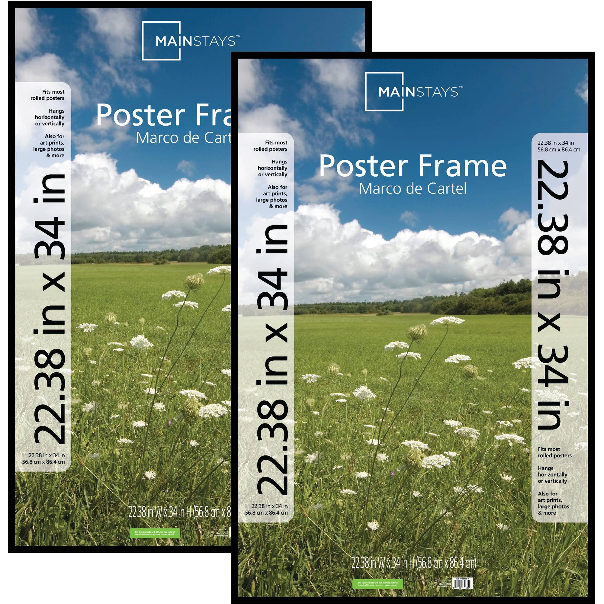 Mainstays 22x34 Basic Poster & Picture Frame, Black, Set of 2 27596