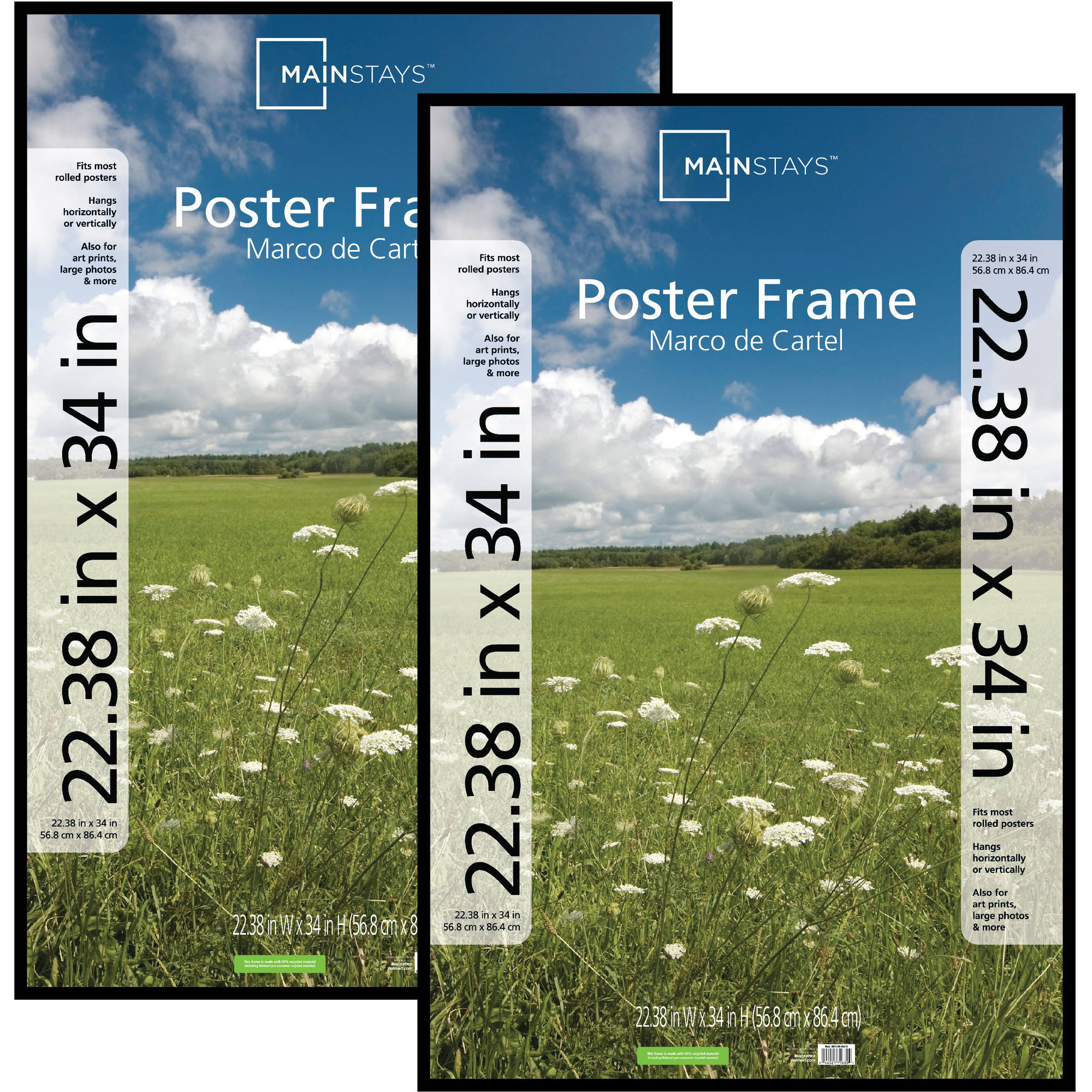 Mainstays 22x34 Basic Poster & Picture Frame, Black, Set of 2