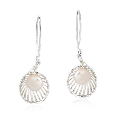 Elegant Pearl in a Seashell Sterling Silver Dangle Earrings
