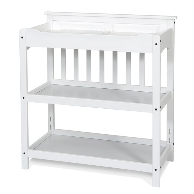 Foundations Matte White Child Craft Universal Changing Table and Twin Headboard