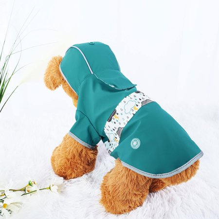 Water Resistant Dog Raincoat, S Pet Clothes Rain Jacket Hooded Outdoor Poncho Blue](Poncho Dog)