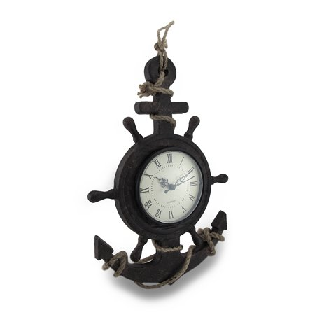 Textured Ship Anchor and Wheel Wall Clock w/Natural Rope Accent (Wheel Clock)