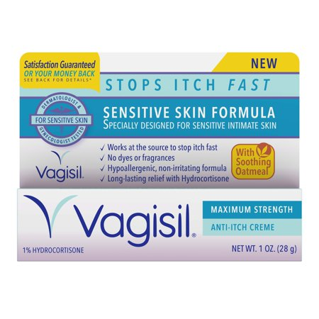 Vagisil Anti-Itch Vaginal Creme, Maximum Strength, Sensitive Skin Formula with Hydrocortisone and Soothing Oatmeal, 1 Ounce