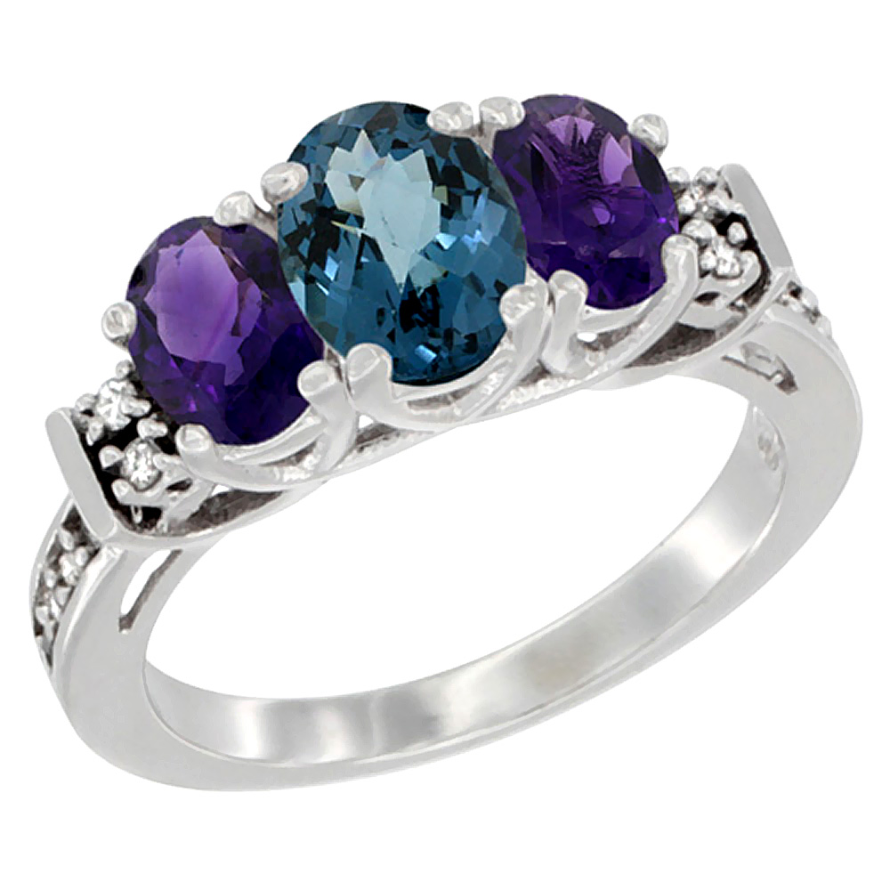 10K White Gold Natural London Blue Topaz & Amethyst Ring 3-Stone Oval Diamond Accent, sizes 5-10 by WorldJewels