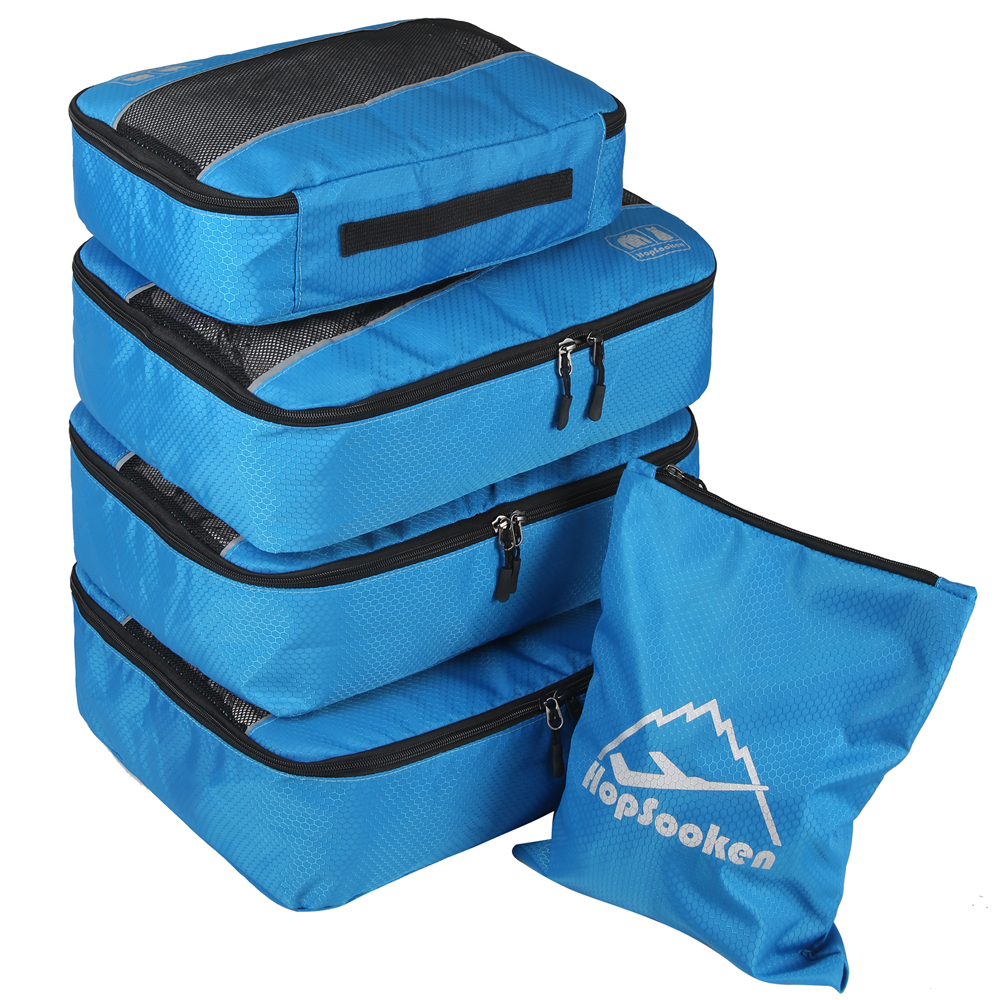 5pc Travel Packing Cubes Set Bag Suitcase Luggage Organizer 4 Cubes 1 Laundry Pouch Bag (blue)