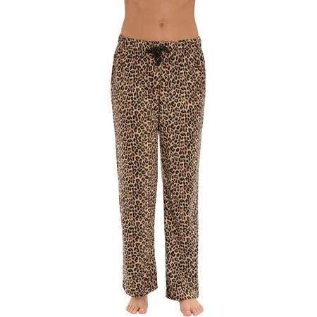 Womens Soft Microfleece Leopard Pajama Pants Drawstring Animal Print Lounge - Animal Womens