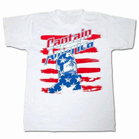 Captain Stripe (Captain America Brush Stripes White T-Shirt | M)