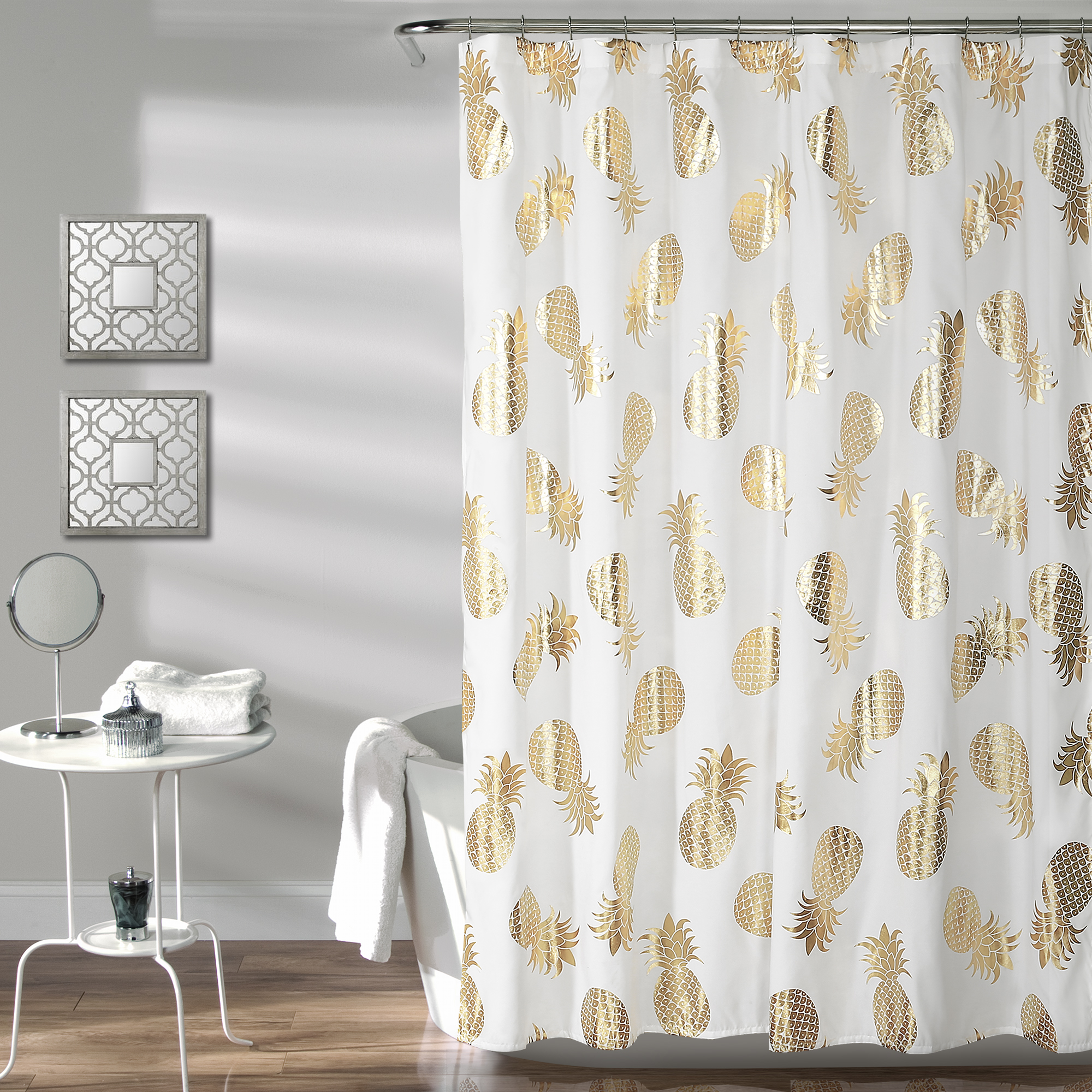 Pineapple Toss Shower Curtain Gold 72X72