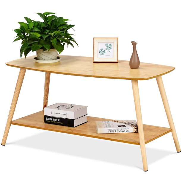 goplus coffee table rectangle side end solid wood legs w