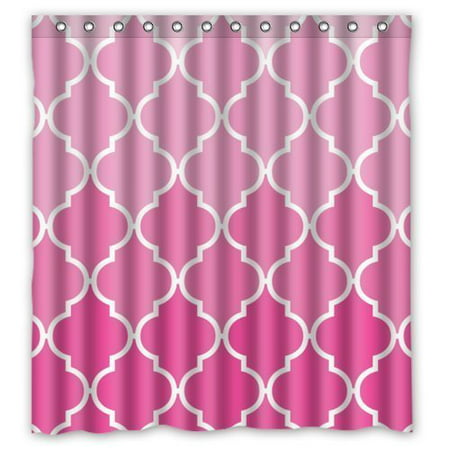 HelloDecor Poster the world Gradual Change Pink Quatrefoil Shower Curtain Polyester Fabric Bathroom Decorative Curtain Size 66x72 Inches ()