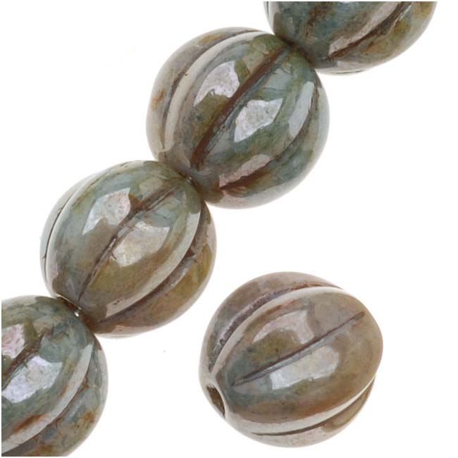 Czech Pressed Glass - Round Melon Beads 8mm Diameter 'Opaque Green Luster' (25)