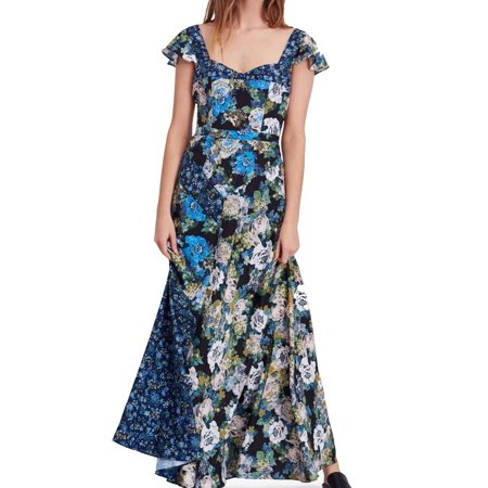 Women's V-Neck Floral Print Maxi Dress 2