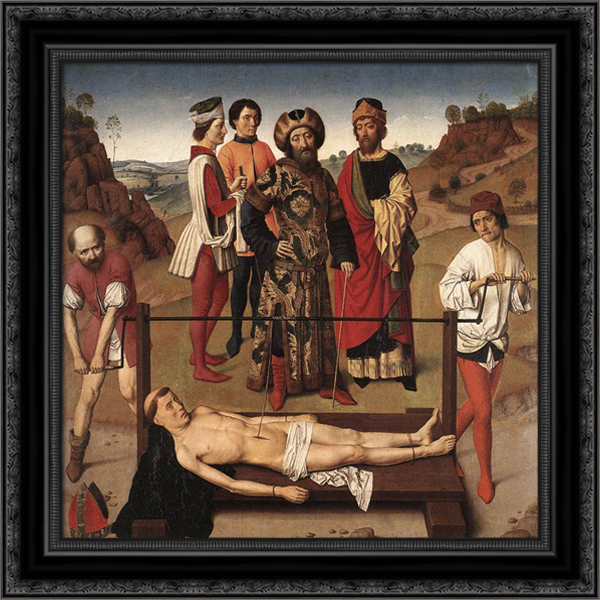 Martyrdom of St Erasmus (central panel) 20x20 Black Ornate Wood Framed Canvas Art by Bouts, Dirck