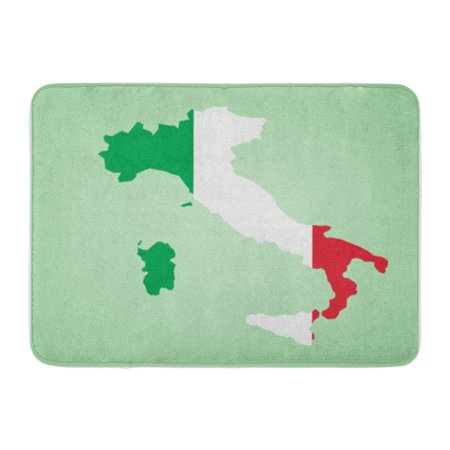 LADDKE Italy Map Flag Inside Country Shape Outlined and Filled The of Highly Detailed Doormat Floor Rug Bath Mat 30x18 inch
