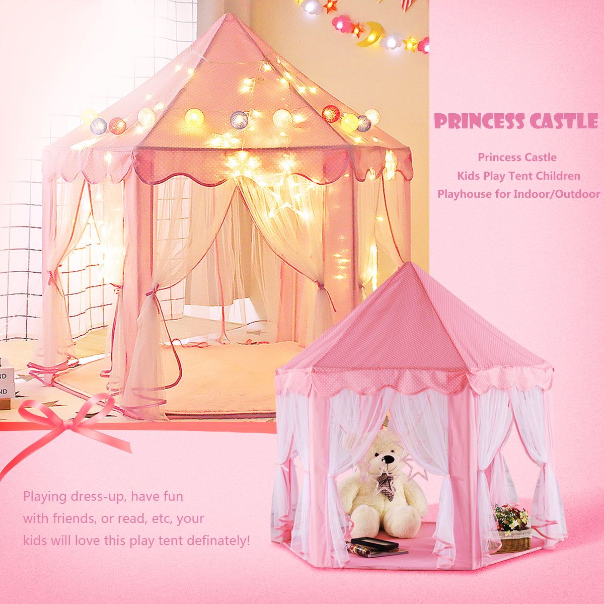 Girls kids children Pink Princess Large Castle Cute Folding Playhouse Play House Children Kids Play Tent... by
