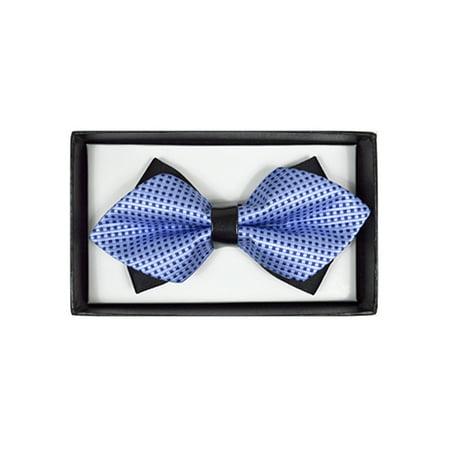 Men's Blue Geometric Diamond Tip Bow Tie - DBB3030-31 ()