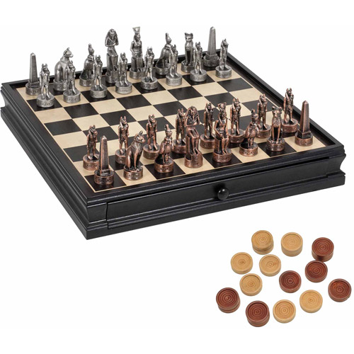 Egyptian Chess and Checkers Game Set, Pewter Chessmen and Black Stained Wood Board with Storage Drawers,... by Generic