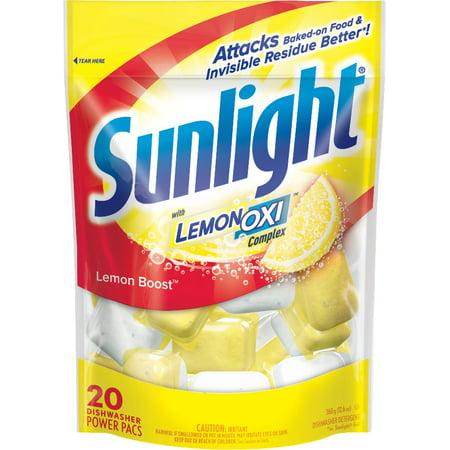 Sunlight OXI Complex Dishwashing Detergent Pacs, Lemon Boost, 20 (Sunlight Dishwashing)