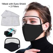 ASA TECHMED Face Protective Face Guard with Transparent Eyes Shield, Cotton Dust Proof Outdoor Black