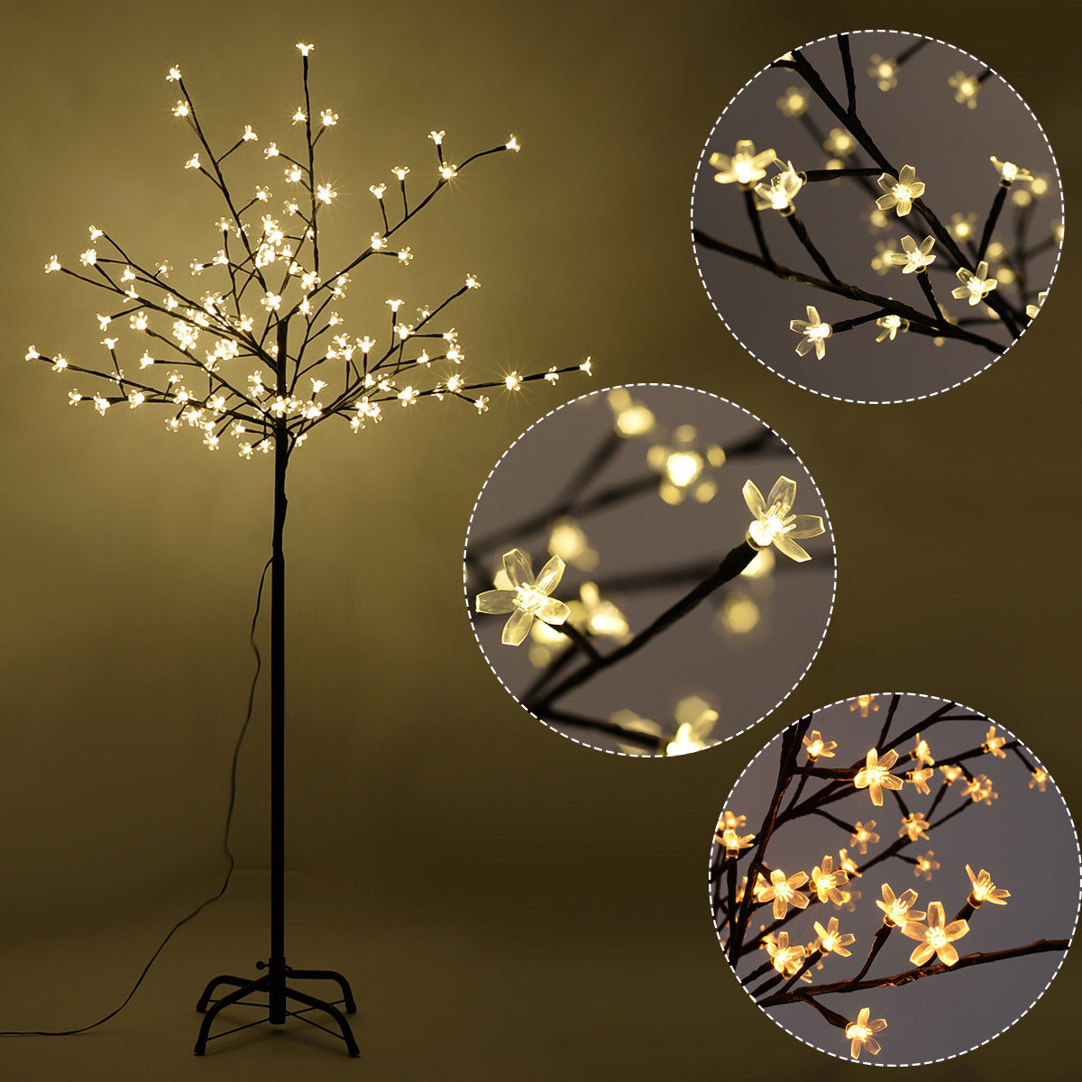 Costway Christmas Xmas Cherry Blossom LED Tree Light Floor Lamp Holiday Decor Warm White by Costway