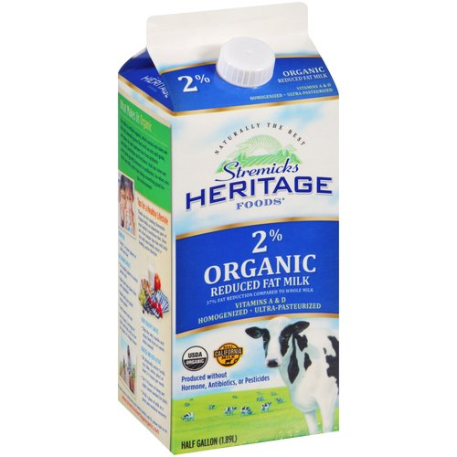 Stremicks Heritage Foods Organic 2% Reduced Fat Milk, .5 gal