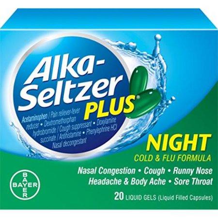 Alka-Seltzer plus Nuit Rhume et grippe Formule liquide Rempli Capsules 20 ch (Lot de 4)