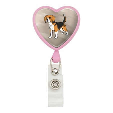 Beagle Pet Dog Heart Lanyard Retractable Reel Badge ID Card Holder - Pink