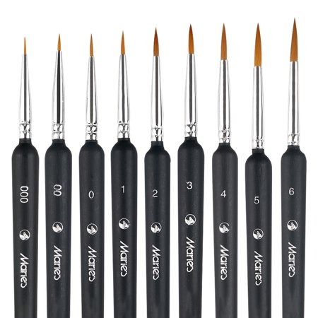TSV Pointed-Round Paintbrush Set, 9 Pieces Round Pointed Tip Nylon Hair Artist Detail Paint Brushes Set for Fine Detailing & Art Painting, Acrylic Watercolor Oil, Nail Art, Miniature Painting