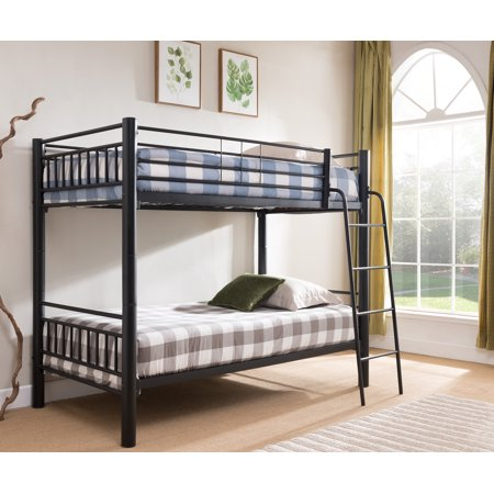Cindy Twin Size Black Metal Traditional Convertible Slat Bunk Bed