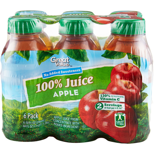 Great Value 100% Apple Juice, 6 Ct/60 Oz