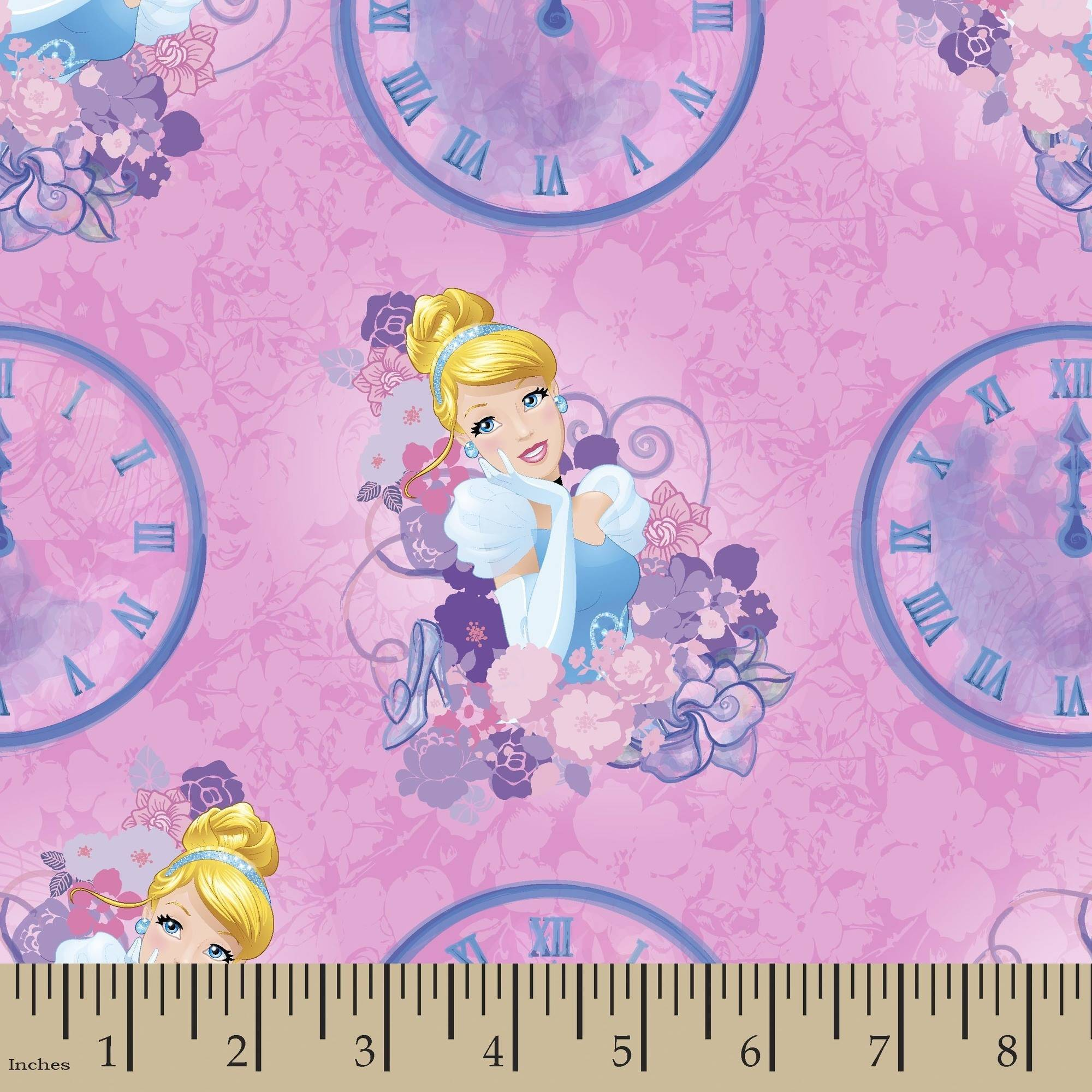 Disney Princess Cinderella Clocks 43/44 Fabric by the Yard