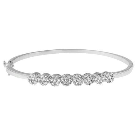 14K White Gold 1.875 ct. TDW Round Cut Diamond Floral Bangle (H-I, (Tdw Diamond Bangle)