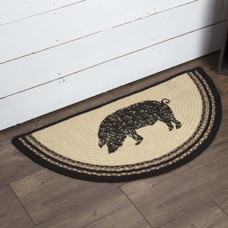 Printed Circles (Bleached White Farmhouse Flooring Miller Farm Charcoal Pig Jute Stenciled Nature Print Half Circle Accent Rug )