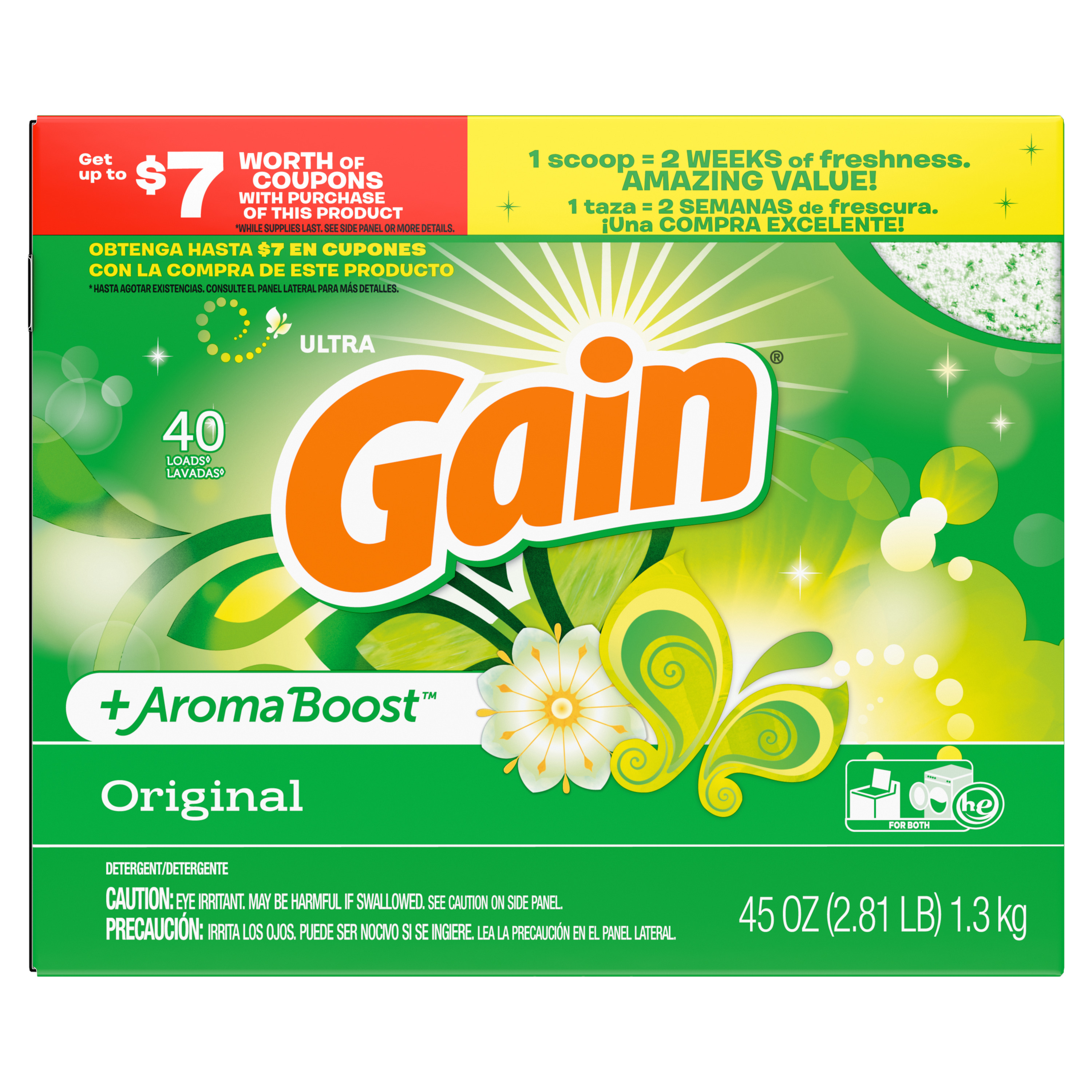 Gain Powder Laundry Detergent for Regular and HE Washers, Original Scent, 45 ounces 40 loads