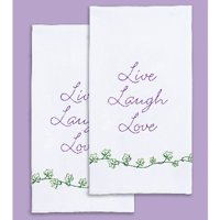 """Stamped White Decorative Hand Towel, 17"""" x 28"""", One Pair, Live, Laugh, Love"""