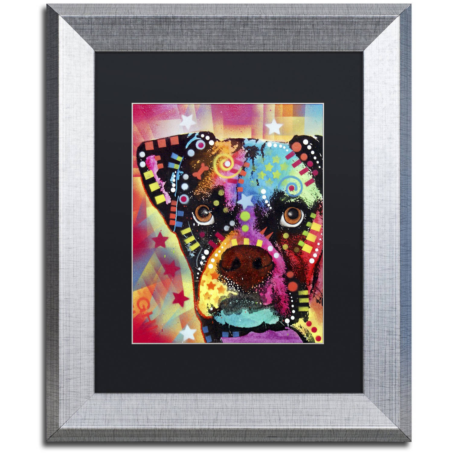 "Trademark Fine Art ""Boxer Cubism"" Canvas Art by Dean Russo, Black Matte, Silver Frame"