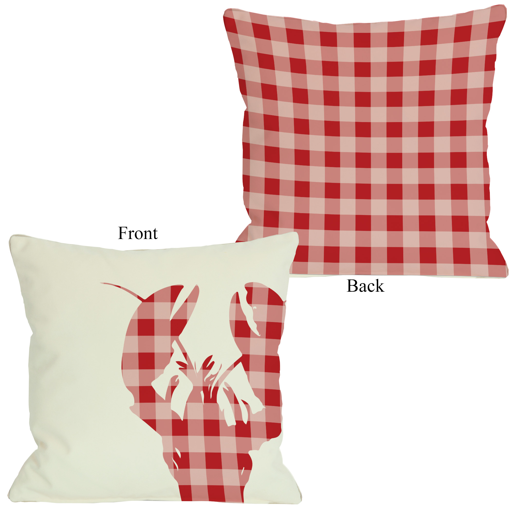 Plaid Lobster - Red 16x16 Pillow by OBC