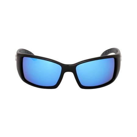 Costa Blackfin Plastic Frame Blue Mirror Glass Lens Men's Sunglasses (Glasses Plastic Lenses Vs Glass)